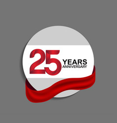 25 years anniversary design in circle red ribbon vector