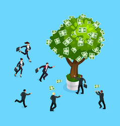 3d businessmen run to the money tree vector