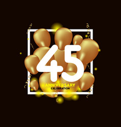 45 year anniversary white gold balloon template vector