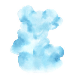 abstract blue cloud watercolor hand-painted stain vector image