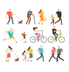 Active people walking riding bike running vector