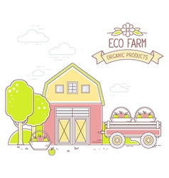 Agribusiness of colorful modern farm life a vector