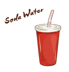 An isolated cartoon hand drawn fast food Soda vector