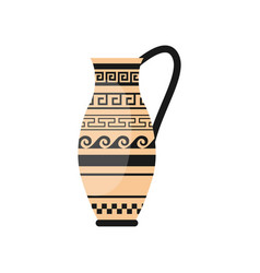 Ancient greek one hand vase with wave ornament vector