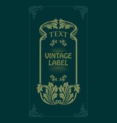 art nouveau decorative style vintage vector image