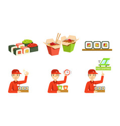 asian food service fast delivery cheerful male vector image