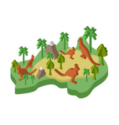 Australia map animal isometric style flora and vector