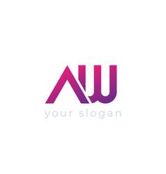 Aw letters logo monogram design vector