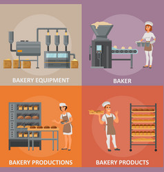 bakery flat style design poster banner set vector image