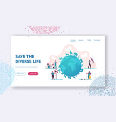 Biodiversity landing page template tiny vector