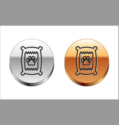 black line bag food for dog icon isolated vector image