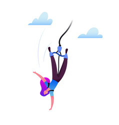 Bungee jumping concept brave woman jump with rope vector