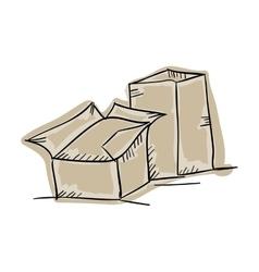 Carton boxes draw design vector