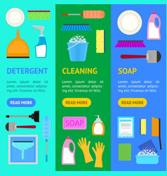 cartoon household cleaning banner vecrtical set vector image