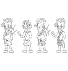 cartoon scottish with bagpipe character set vector image