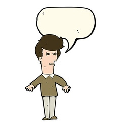 Cartoon suspicious man with speech bubble vector