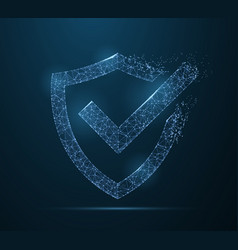 check mark on shield polygonal wireframe mesh vector image
