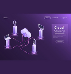Cloud online storage flat isometric concept vector