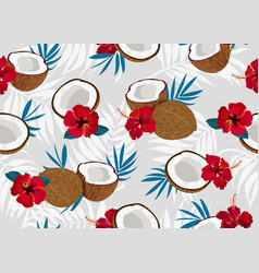 coconut fruits seamless pattern whole and piece vector image