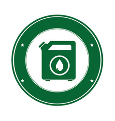 color circular emblem with bio fuel container vector image