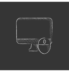 Computer monitor and mouse Drawn in chalk icon vector