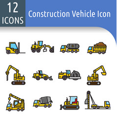 construction vechicle color line icon vector image