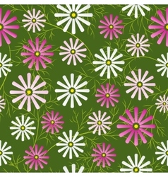 Cosmos flowers field seamless pattern vector image