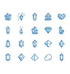 Crystals flat line icons set mineral rock vector