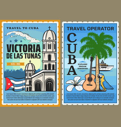 Cuba map flag caribbean beach palm cuban travel vector