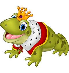 Cute frog king isolated on white background vector