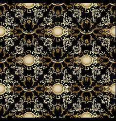 Damask 3d seamless pattern baroque background vector