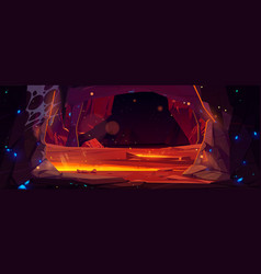 Dark cave in mountain with hot lava vector