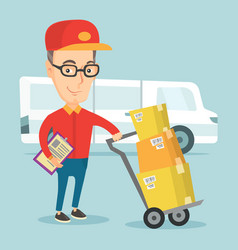delivery courier with cardboard boxes vector image