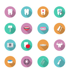 Dental and teeth health in flat style icon set vector