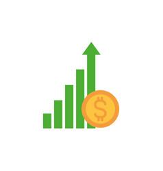 Diagram profit money flat image style vector