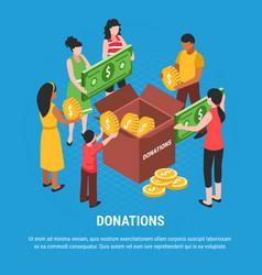 donation isometric background vector image