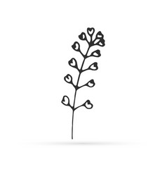 Doodle flower icon isolated on white outline kids vector