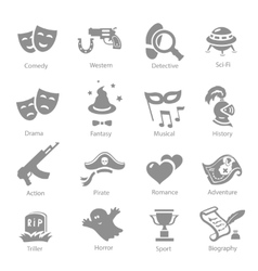 Film genres icon set vector image