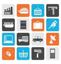 Flat Industry and Business icons vector