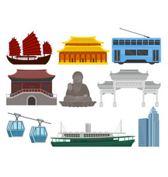Flat set of hong kong travel elements vector