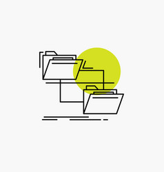 folder file management move copy line icon vector image