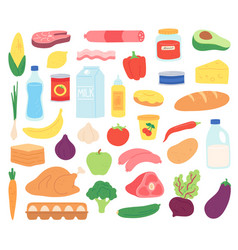 food products natural meat dairy organic fruits vector image