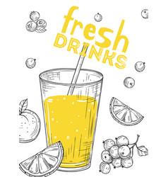 fresh fruit juice sketch drink glass lemon vector image