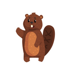 Funny beaver with brown fur shaped tail shiny vector