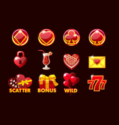 gaming icon of stvalentine symbols for vector image