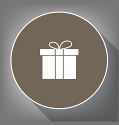 gift box sign white icon on brown circle vector image