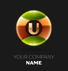 golden letter u logo symbol in golden-green circle vector image