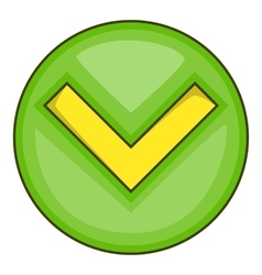 Green tick check mark icon cartoon style vector