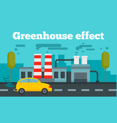 Greenhouse effect concept banner flat style vector