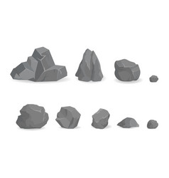 Grey stone rocks collection of big and small gems vector